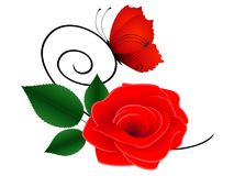 Red rose with leaves and a butterfly. Red rose with leaves and a butterfly on a branch, beautiful illustration Stock Image