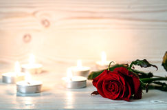 Red rose is among lighted candles on wooden white surface. Stock Image