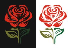 Red rose logo emblem on black and white background. Vector Royalty Free Stock Photos