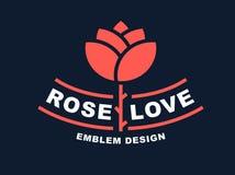 Red rose logo - vector illustration, emblem on dark background Stock Images