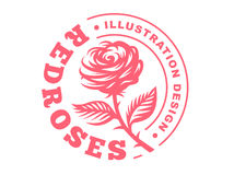 Red rose logo - vector illustration, emblem on white background Royalty Free Stock Image
