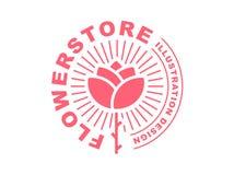 Red rose logo - vector illustration, emblem on white background Stock Photography