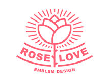 Red rose logo - vector illustration, emblem on white background Royalty Free Stock Image