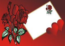 Red rose - Love greeting card. Rose and heart -  illustration Stock Photo