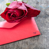 Red rose and love letter Royalty Free Stock Images