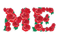 Red rose in ME Alphabet vector Royalty Free Stock Photography