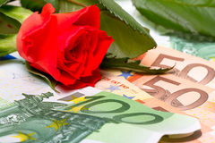 Red rose and money gift Stock Image