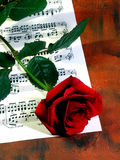 Red rose and music sheet. Romantic red rose over a music sheet stock images