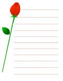 Red rose note paper Stock Photography
