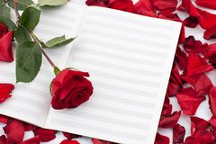 Red rose on the note sheet Royalty Free Stock Photography