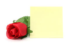 Red rose and notepaper Stock Photo