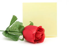 Red rose and notepaper Royalty Free Stock Photography
