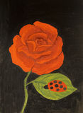 Red rose, oil painting Stock Photo
