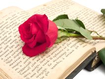 Red rose on old book Royalty Free Stock Photography