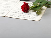 Red rose and old notes Sheet music Royalty Free Stock Photos