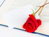Red rose on the open book with blank gift card for text Stock Photography