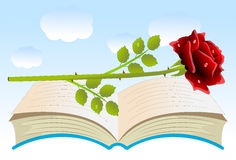 Red rose on an open book Royalty Free Stock Photo