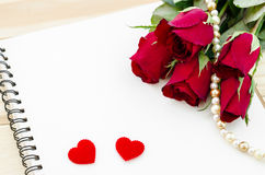 Red rose with open diary. Royalty Free Stock Photo