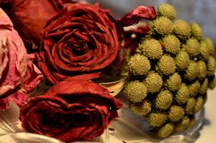 Red rose and other flowers. dried roses. bouquet of roses. Stock Photography