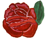 Red rose, painting Stock Photos