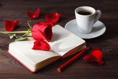Red rose with paper for text Royalty Free Stock Photos