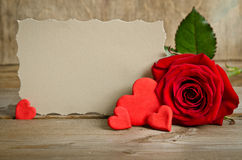Red rose with paper for text Stock Image