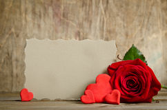 Red rose with paper for text and handemade valentines around Royalty Free Stock Photos