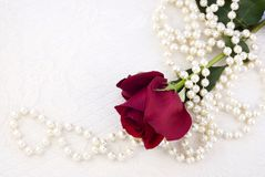 Red Rose and Pearls Royalty Free Stock Images