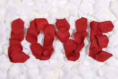 Red Rose pedals spelling love Stock Photos