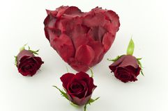 Red rose petal heart Royalty Free Stock Photography
