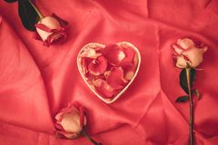 Red rose petal in heart shape. With red background stock photo