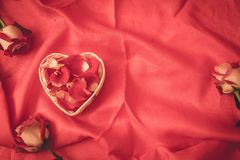 Red rose petal in heart shape. With red background royalty free stock photo