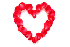 Red rose petal heart  on white Stock Image