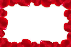 Red rose petals frame. Royalty Free Stock Photos