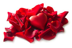 Red rose petals with heart Stock Photos