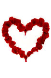 Red rose petals in a heart shape Royalty Free Stock Images