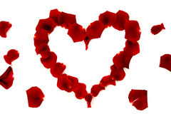 Red rose petals in a heart shape Royalty Free Stock Photos