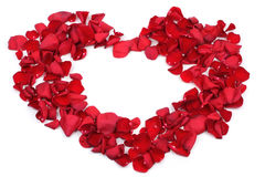 Red rose petals heart shape Royalty Free Stock Photos