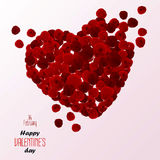 Red rose petals heart. Valentine's Day Royalty Free Stock Images