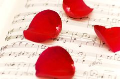 Red rose petals on musical notes. Page Stock Image