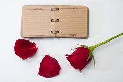 Red rose petals with opened antique diary Royalty Free Stock Images