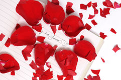 Red Rose Petals in Pieces Stock Photos