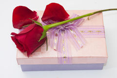 Red rose petals with pink gift box with a bow Royalty Free Stock Photo