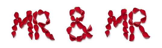 Red rose petals spelling mr and mr royalty free stock image