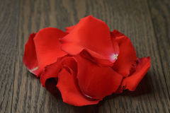 Red rose petals on wood table Royalty Free Stock Images