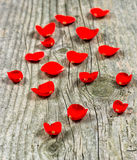 Red rose petals on wooden background Royalty Free Stock Photography