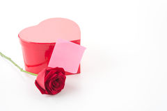 Red rose with pink paper note Royalty Free Stock Image