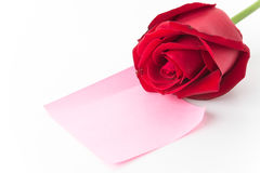 Red rose with pink paper note Stock Photos