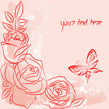 Red  rose and red butterfly. Postcart with red  rose and red butterfly Stock Photo