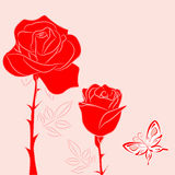 Red  rose and red butterfly 2 Royalty Free Stock Photos